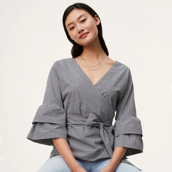 LOFT Tops - NWT LOFT check wrap tiered flare sleeve top
